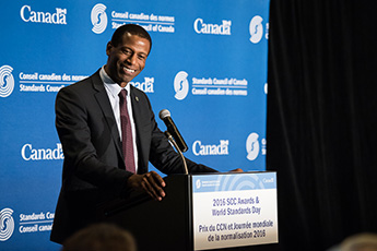 Greg Fergus, Parliamentary Secretary to the Minister of Innovation, Science and Economic Development, presenting at World Standards Day 2016.