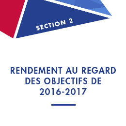 Section 2: Rendement au regard des objectifs de 2016-2017