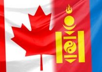 les drapeaux du Canada et de la Mongolie