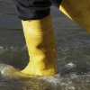 Yellow rain boots in water