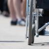 Wheelchair among pedestrians